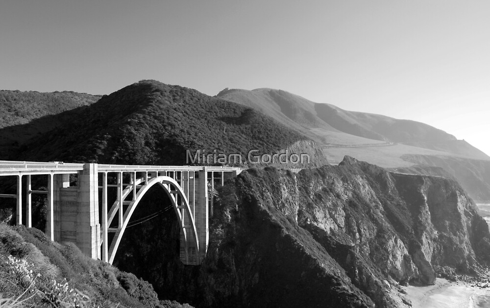 Bixby Creek Bridge Black and White by Miriam Gordon