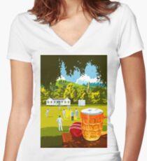 Village Cricket Women's Fitted V-Neck T-Shirt