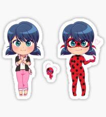 Chibi Marinette + Tikki + Ladybug Sticker Set Sticker