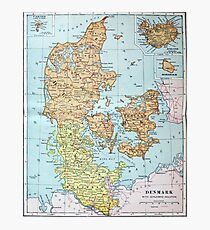 Vintage Map of Denmark (1905)  Photographic Print