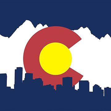Bandera de Colorado (paisaje urbano y cordillera) de baileymincer