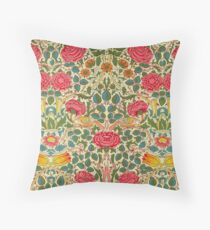 Rose Chintz William Morris Vintage Pattern Throw Pillow