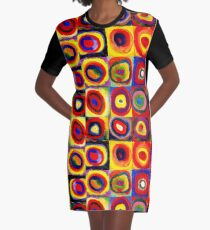 Kandinsky Modern Squares Circles Colorful Graphic T-Shirt Dress