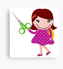 Little gIrl elegant designers edition. Girl with Scissors. Unique collection 2016 Canvas Print