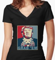 Trump Grab Em Poster Women's Fitted V-Neck T-Shirt