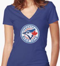 Blue Jays Logo! Women's Fitted V-Neck T-Shirt