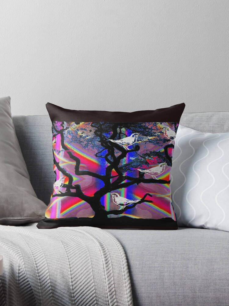 sparrows in a rainbow tree by Lozenga