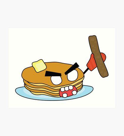 angry zombie pancakes wielding a sausage Art Print