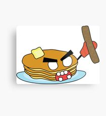 angry zombie pancakes wielding a sausage Metal Print