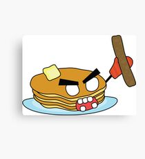angry zombie pancakes wielding a sausage Canvas Print