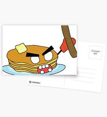 angry zombie pancakes wielding a sausage Postcards