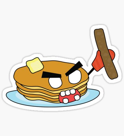 angry zombie pancakes wielding a sausage Sticker