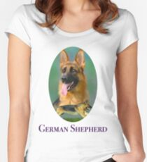 German Shepherd Breed Art With NamePlate Women's Fitted Scoop T-Shirt