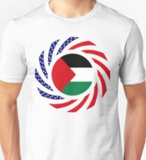 Palestinian American Multinational Patriot Flag Series Slim Fit T-Shirt