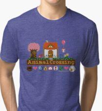 Animal Crossing Pixel house Tri-blend T-Shirt