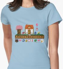 Animal Crossing Pixel house Women's Fitted T-Shirt