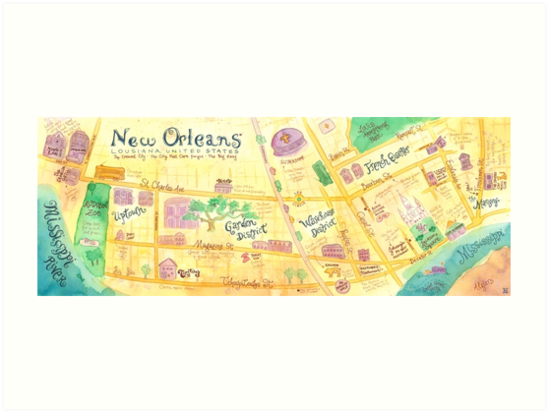 Illustrated Map Of New Orleans Louisiana USA Art Prints By - New orleans usa map