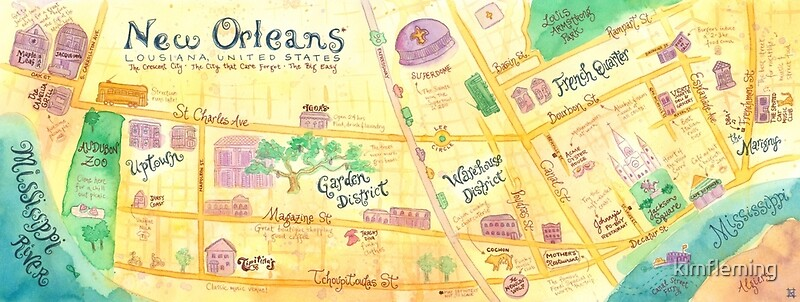Illustrated Map Of New Orleans Louisiana USA Posters By - New orleans usa map