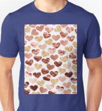 Rose gold hearts Unisex T-Shirt