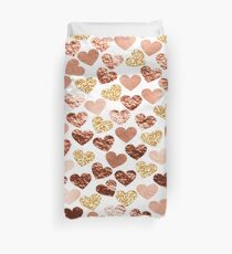 Rose gold hearts Duvet Cover