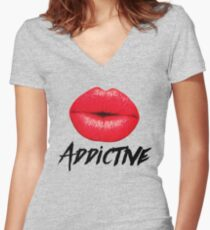 Red Lips Lipstick Addictive  Women's Fitted V-Neck T-Shirt