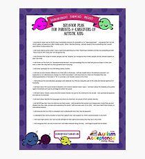Behavior Plan for Parents of Autistic Kids Photographic Print