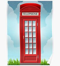 Red English Telephone Box Poster
