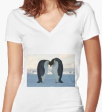 Emperor Penguin Courtship Women's Fitted V-Neck T-Shirt