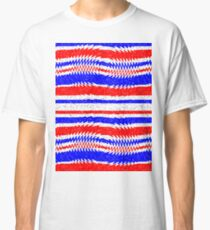 Red White Blue Waving Lines Classic T-Shirt