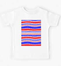 Red White Blue Waving Lines Kids Clothes