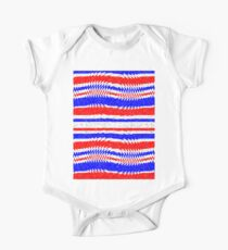 Red White Blue Waving Lines One Piece - Short Sleeve