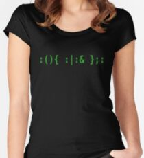 Bash Fork Bomb - Green Text for Unix/Linux Hackers Women's Fitted Scoop T-Shirt