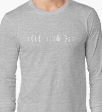 Bash Fork Bomb - White Text for Unix/Linux Hackers Long Sleeve T-Shirt