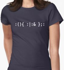 Bash Fork Bomb - White Text for Unix/Linux Hackers Womens Fitted T-Shirt