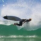 Surfer at Warriewood beach NSW  Australia by Doug Cliff