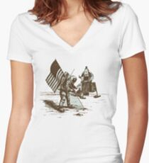 Apollo Moon Landing Vintage Space Cartoon Women's Fitted V-Neck T-Shirt