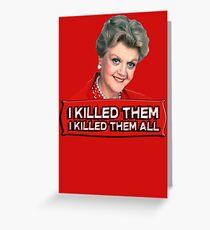 Tarjeta de felicitación Angela Lansbury (Jessica Fletcher) Asesinato, ella escribió la confesión. Los maté a todos.