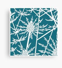 Paper art - Sea hollies on a teal background Canvas Print