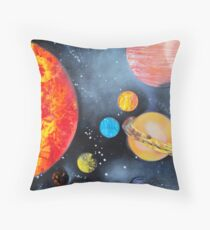 Spray Paint Art- Solar System Throw Pillow