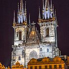 Czech Republic. Prague. Church of Our Lady before Týn at Night. by vadim19