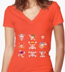 one piece symbol Women's Fitted V-Neck T-Shirt