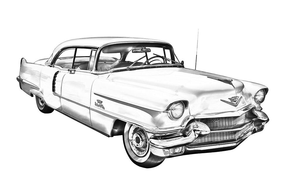 1956 Sedan Deville Cadillac Car Illustration by KWJphotoart