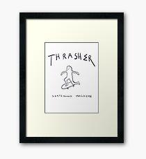 THRASHER skateboard mag white Framed Print
