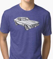 1969 Chevrolet Nova Yenko 427 Muscle Car Illustration Tri-blend T-Shirt