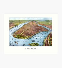 Lámina artística Vintage Pictorial Map of New York City (1879)