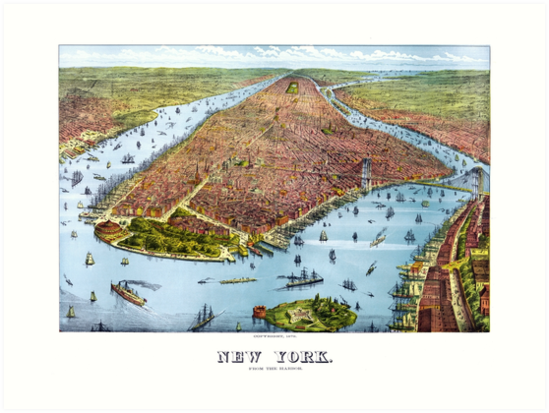 «Vintage Pictorial Map of New York City (1879)» de BravuraMedia