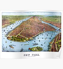 Póster Vintage Pictorial Map of New York City (1879)