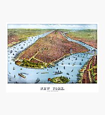 Lámina fotográfica Vintage Pictorial Map of New York City (1879)