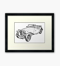 MG Convertible Antique Car Illustration Framed Print