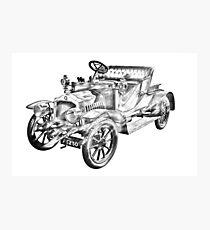 De Dion Bouton Antique Car Illustration Photographic Print